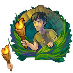 Man traveler in woods Maya. Scientific expedition