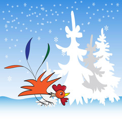 rooster image on a winter background
