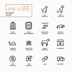 Pet Shop - Single Line Pictograms Set