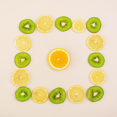 Sliced fruit. Geometric figure of fruits. Top View