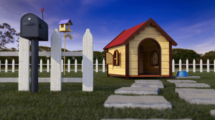 Dog house on lawn with fencing and defocused depth of field 3D Illustration