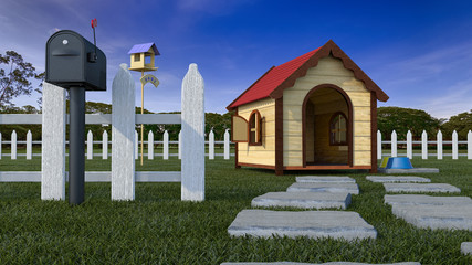 Dog house on lawn with fencing and mailbox 3D Illustration