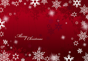 Abstract background with snowflakes and Merry Christmas text - w