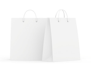 Empty Shopping Bags on white for advertising and branding. 3d rendering