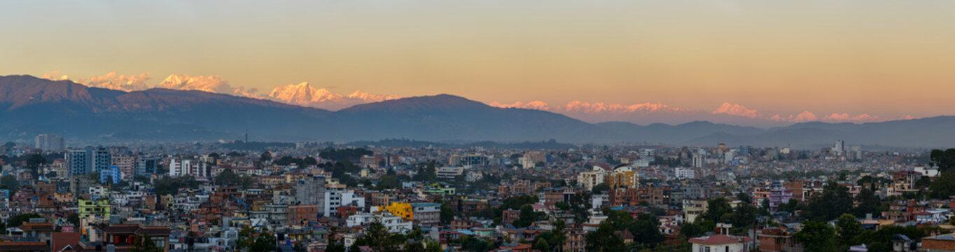 Kathmandu city and the Himalayas panorama