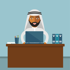 Arab Businessman Sitting Office Desk Working Laptop Computer Flat Vector Illustration
