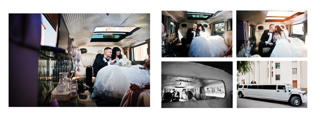 Dual pages of photo book elegance wedding couple. Wide wedding p