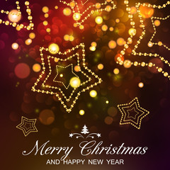 Merry Christmas and Happy New Year card. Vector bokeh background