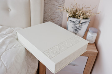 White classic photo album or photobook with decor design