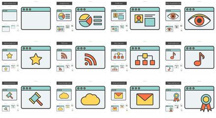 Application line icon set.