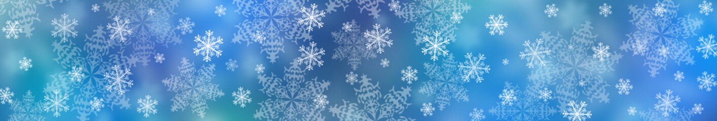 Christmas background. Beautiful snowflakes, bokeh and abstract wave. banner.
