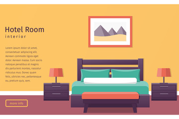 Banner of hotel room interior in flat style. Bedroom design. Background. Vector illustration.