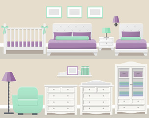 Set white bedroom furniture in flat design. Modern room interior. Vector illustration.