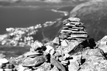Black and white Norway zen rock towers background