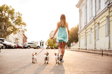 Back view of a young woman walking her dogs