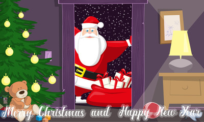 Merry Christmas and Happy New Year background. Cute Santa Claus with bag gift boxes enter inside kids room in door. Concept design holiday poster, banner, flyer, greeting cards. Cartoon style. Vector