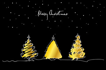 Set of hand drawn Christmas tree with gold on black background. Merry Christmas greeting card. Vector.