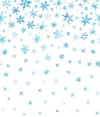 Horizontal pattern of watercolor snowflakes isolated on white.