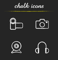 Electronics devices chalk icons set