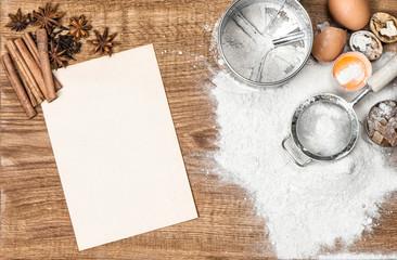 Food background Baking tools ingredients Dough preparation