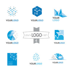 Modern logo design set: logotypes for different companies, as web agency, start-up, software house, engineering, R&D, chemical, pharmaceutical industry, new business, consulting and optimization