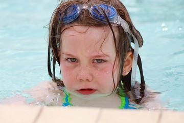 grumpy girl swimming