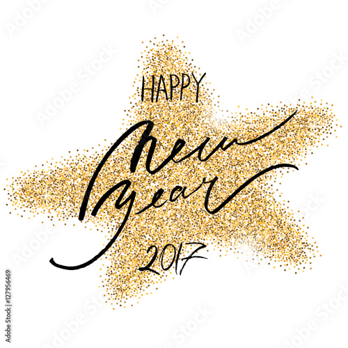 happy new year 2017 greeting card with gold glitter star on white background