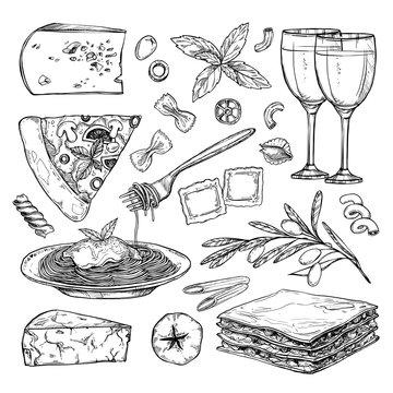 Hand drawn vector illustration - Italian food ( Different kinds