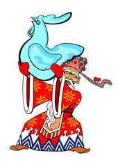 Vector illustration of a Chinese Santa Claus holds in his hands the icy figure of a rooster.