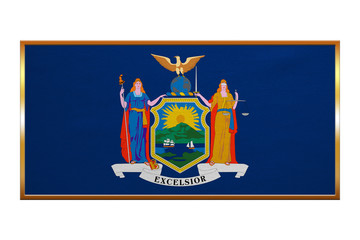 Flag of New York state golden frame fabric texture