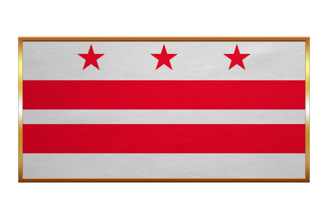 Flag of Washington, D.C., golden frame, textured