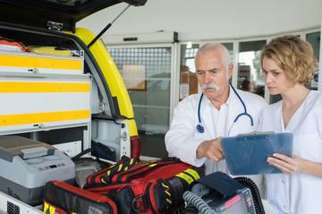 paramedics preparing ambulance