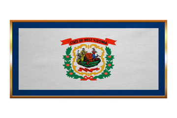 Flag of West Virginia, golden frame fabric texture