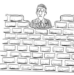 Black and white illustration of a discouraged man blocked by a wall.