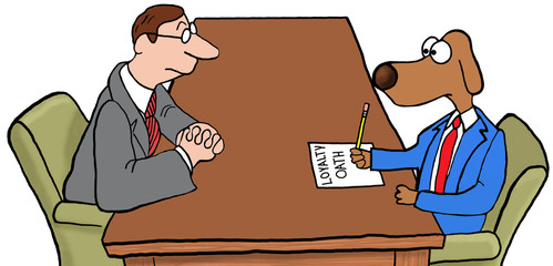 Color illustration of a new employee signing a loyalty oath.