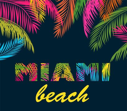 Background with colorful palm leaves and miami beach lettering
