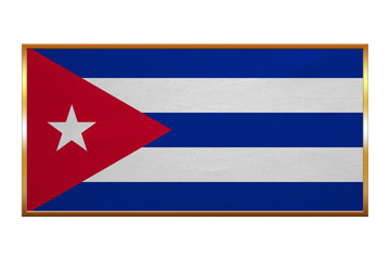 Flag of Cuba , golden frame, fabric texture