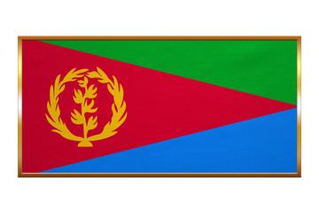 Flag of Eritrea , golden frame, fabric texture