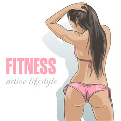Attractive caucasian fitness girl in sexy pink swimsuit. Vector illustration