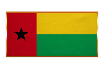 Flag of Guinea-Bissau, golden frame fabric texture