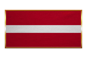 Flag of Latvia , golden frame, fabric texture