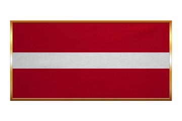Flag of Latvia , golden frame, fabric texture
