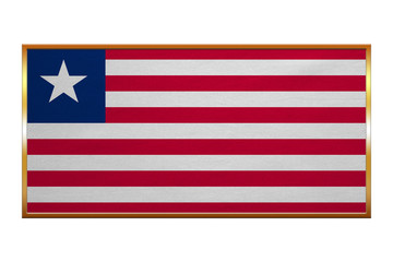 Flag of Liberia , golden frame, fabric texture