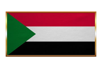 Flag of Sudan , golden frame, fabric texture
