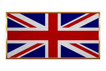 Flag of United Kingdom golden frame fabric texture
