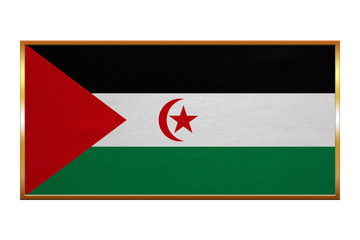 Flag of Western Sahara golden frame fabric texture