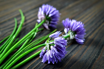 Chive flowers on wooden background