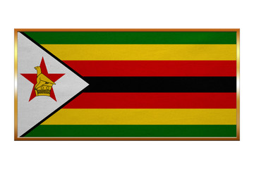 Flag of Zimbabwe , golden frame, fabric texture