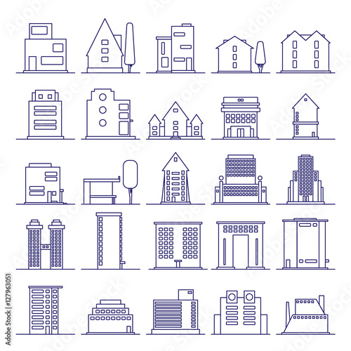 Set of modern futuristic building icons outline for Minimalist house logo