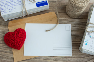 Blank white post cards, empty postcard, postcrossing, Red heart